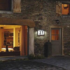 Image 2 - Lampa słoneczna domek z podświetleniem LED numer podświetlany drzwi do domu numer tablica adresowa lampa wodoodporna bezprzewodowa lampa ogrodowa Sunpower dekoracja do drzwi