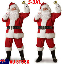 Russia Christmas Santa Claus Costume Cosplay Clothes Fancy Dress In Men 5pcs/lot Suit For Adults