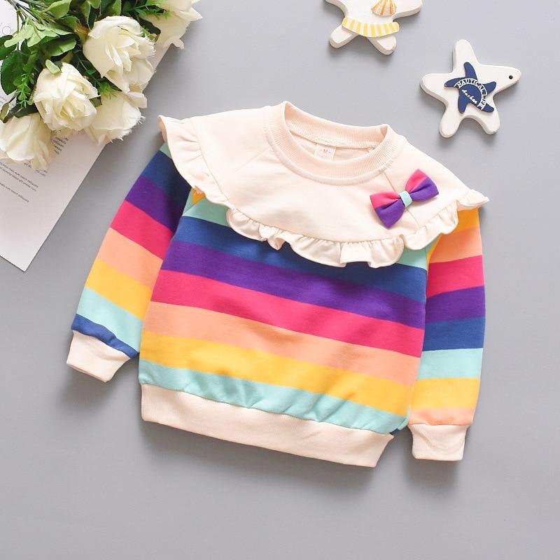 Spring Autumn Long Sleeve Baby Girl Clothes Cute Bowknot Rainbow Stripe Girls Sweatshirt Comfortable Cotton Pullover Kids Jacket 4