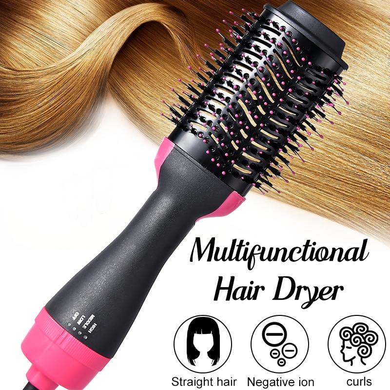2400W 3 In 1 Third Gear One Step Hair Dryer Volumizer Negative Ion Generator Hair Straighten Salon Hot Air Paddle Styling Brush