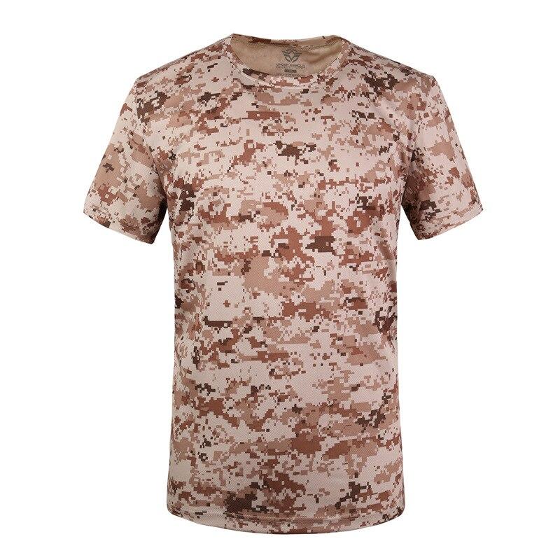 Militar tático t camisa masculina verão secagem rápida respirável o pescoço manga curta de fitness topos algodão camuflagem combate t camisas - 4