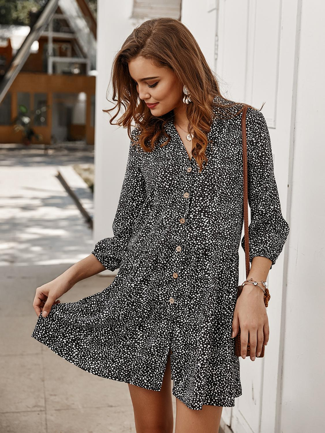 2020 New Women Autumn Small Floral <font><b>Dress</b></font> Button Short Cropped Sleeve <font><b>Dress</b></font> Female Casual Mini Party <font><b>Dresses</b></font> image