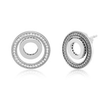 Forever Signature Earrings Clear CZ 925 Sterling Silver Jewelry For Woman Make up Fashion Female Earrings Party Jewelry