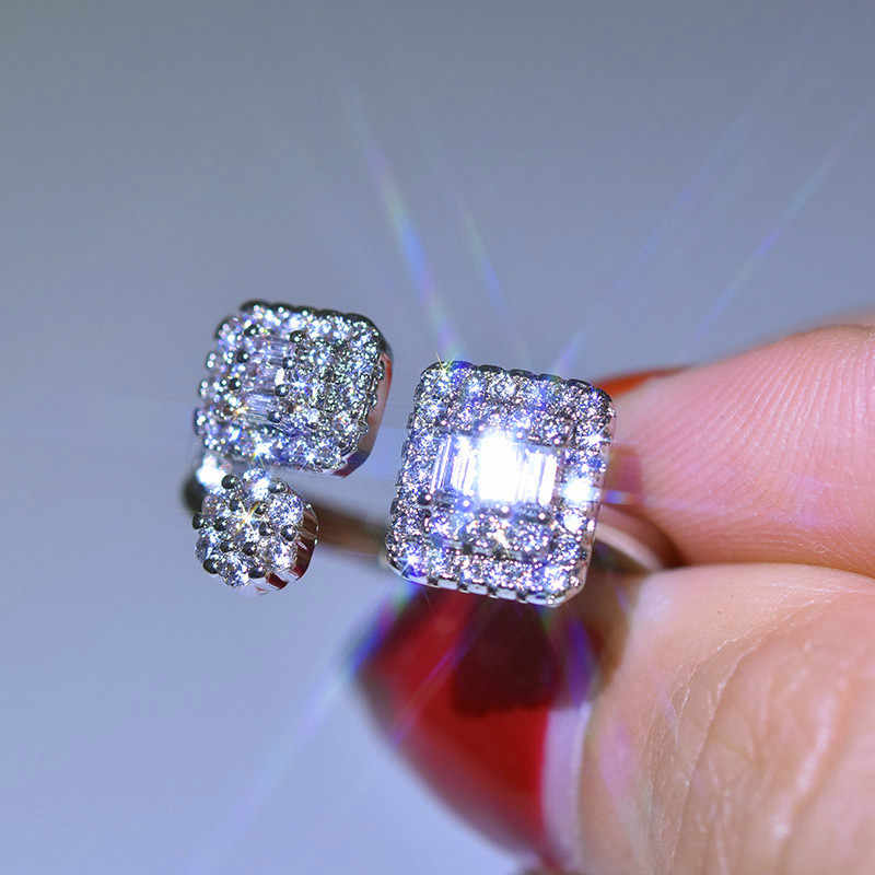 Luxury Female Ladies Square Zircon Adjustable Ring 925 Silver Crystal Engagement Ring Classic Promise Wedding Rings For Women