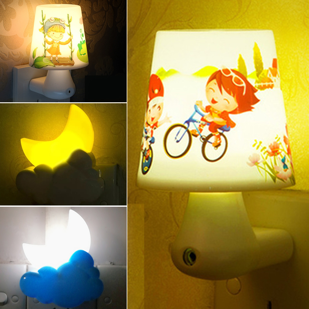 LED Night Light Moon Cloud Shape Sensor Control Automatic Sleeping Lights US Plug Bedroom Decor Baby Kids Xmas Gift