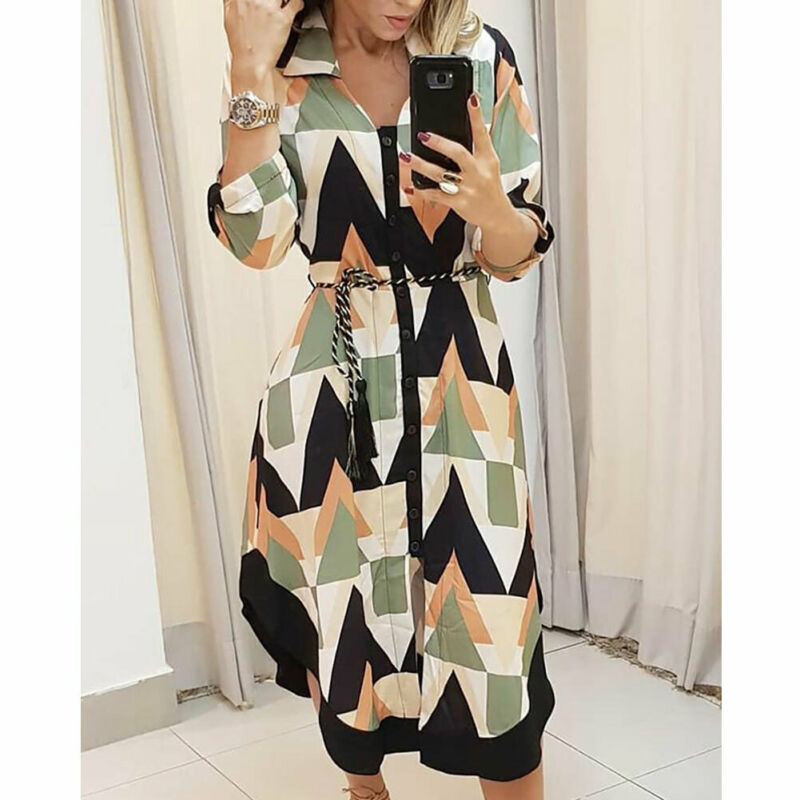 Womens Long Shirt Dress Wave Print Long Sleeve V-neck Casual Autumn Loose High Waist Holiday Midi Dress Vestidos Longo Plus Size