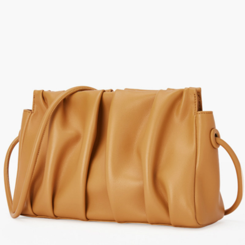 Genuine Leather Women Bag Spring And Summer 2020 New Pleated Small Square Bag Women's Fashion Single Shoulder Bag Messenger Bag