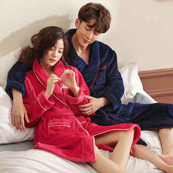 Couples Thick Warm Winter Bathrobe Men Soft Coral Fleece Long Kimono Bath Robe Female Dressing Gown For Lovers Flannel Robes 3XL