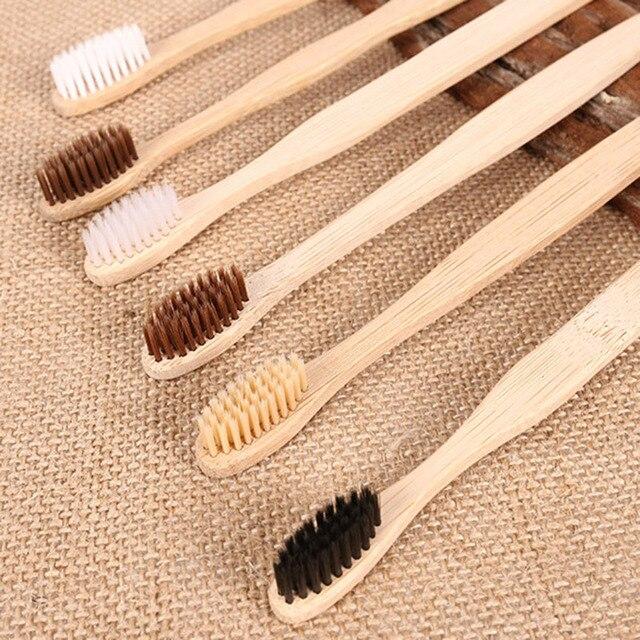 Escova de dentes de bambu 50 peças, mistura de cores cerdas médias para cuidados orais limpeza dos dentes eco médio macio cerdas escovas