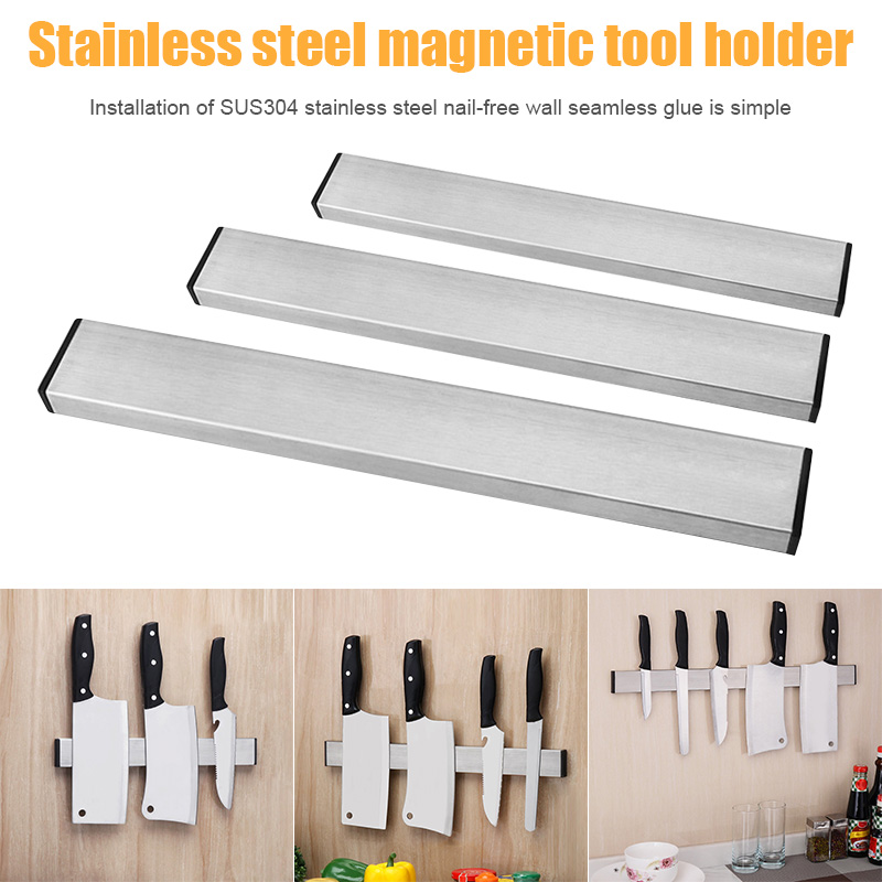 Stainless Steel Magnetic Cutter Rack Non-drill Wall Mounted Cutter Holder For Kitchen LXY9