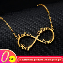 Stainless Steel Chain Necklace Women Girls Personalized Rose Gold Silver Custom Infinity Necklace Collares Mujer BFF Jewelry