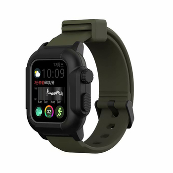 Waterproof Shock Proof Impact Resistant case for Apple Watch series 3 2 Soft Silicone band iwatch band 42mm accessories strap