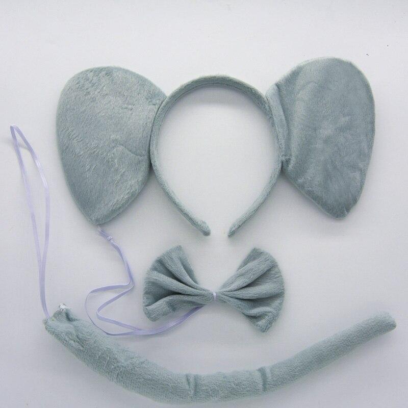 Детская повязка на голову с ушками животных для мальчиков и девочек; комплект с галстуком-бабочкой и хвостом для детей и взрослых; карнавальный костюм; вечерние аксессуары для волос - Цвет: 11