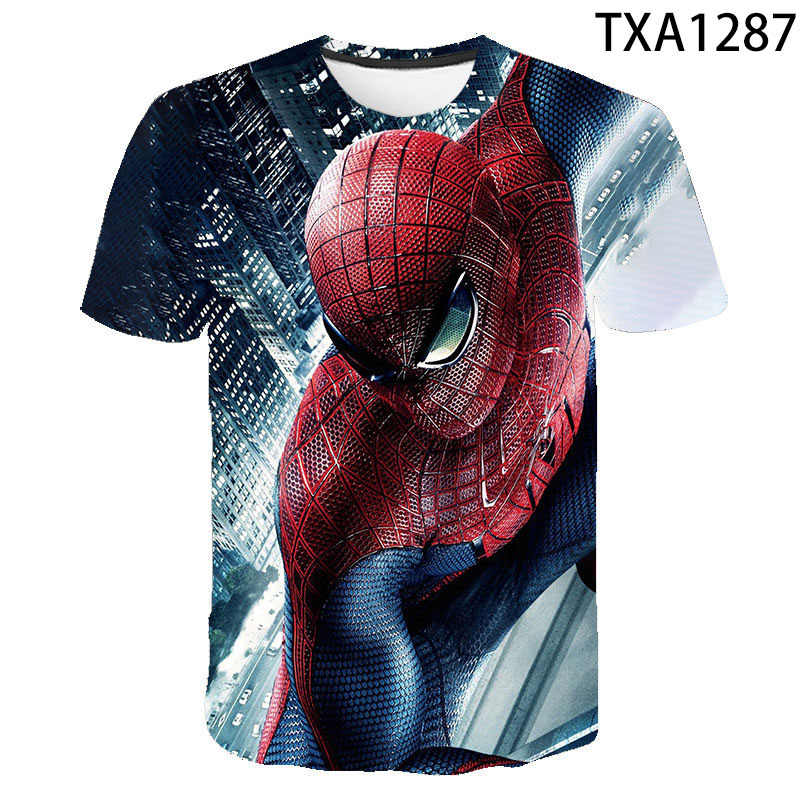 Marvel Spider-Man T Shirt Uomo Donna Bambini 3D Stampato Bambini T-Shirt Manica Corta The Avengers Spiderman Top Boy ragazza Tee Fresco