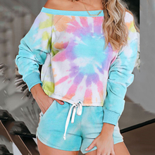 New tie-dye women pajamas set fashion summer long sleeve sle