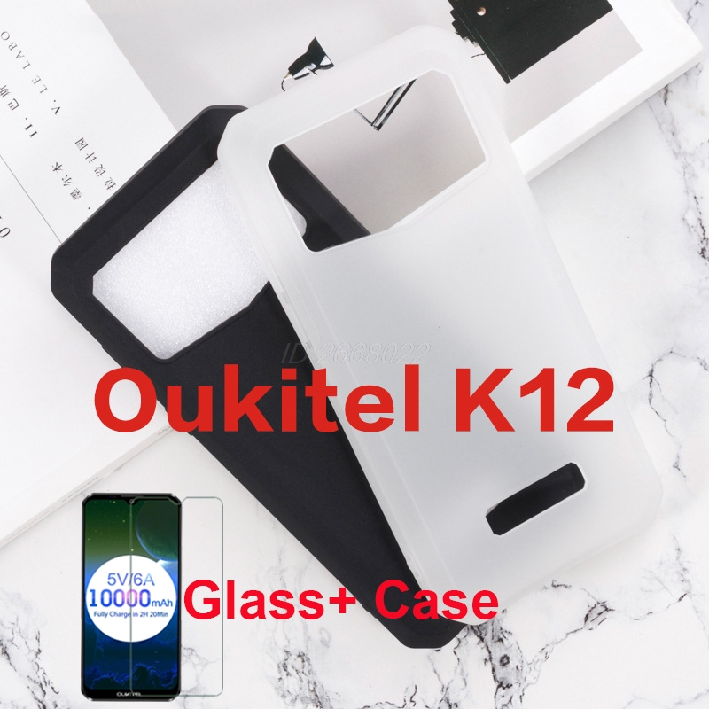 For <font><b>oukitel</b></font> <font><b>K12</b></font> case cover anti-shock shockproof soft TPU silicone back cover bumper with glass for <font><b>oukitel</b></font> <font><b>k12</b></font> screen protector image