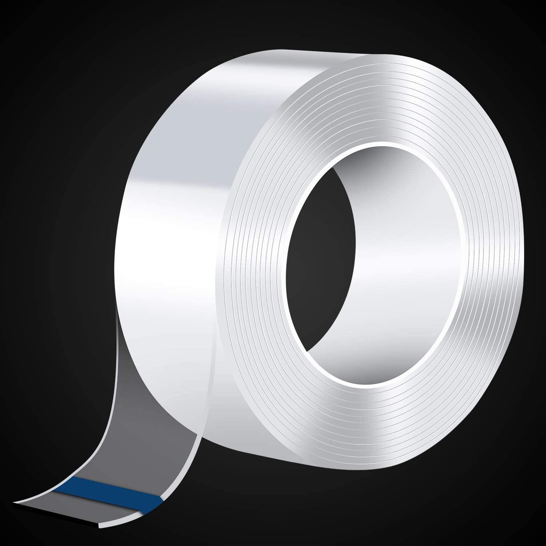 Fita nano mágica transparente lavável reutilizável fita dupla face adesivo nano-sem cola removível cola limpa agregado familiar