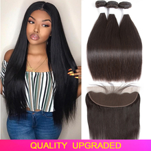 Tuneful Human-Hair Closure Bundles Frontal Straight Pre-Plucked 13x6 Malaysian with 13x4