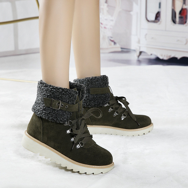 YMECHIC 2019 Yellow Army Green Black Winter Snow Boots Women Lace Up Platform Buckle Plush Punk Shoes Gothic Ankle Combat Boots
