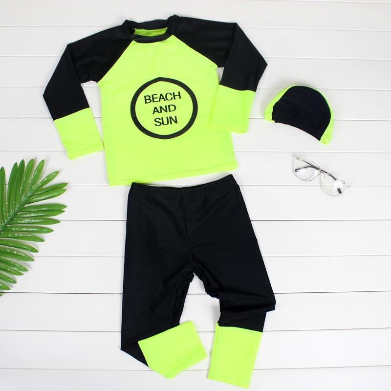 Korean-style KID'S Swimwear Big Boy Long Sleeve Trousers Sun-resistant Waterproof Mother Floating Diving Suit Hot Springs Split