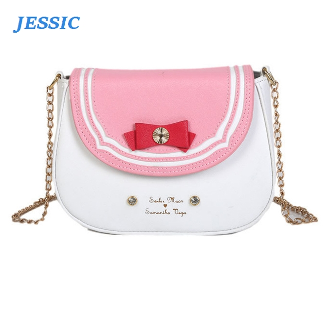 JESSIC Fun Cute Sailor Moon Bow-knot Shoulder Messenger Purse Bag Women Chains Pu Leather Hit Color Crossbody Bag Ladies Handbag