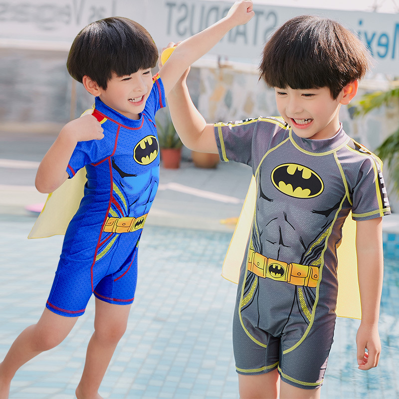 New Style KID'S Swimwear BOY'S Trend Cute Cartoon Batman Cloak Baby Children One-piece Hot Springs Swimwear