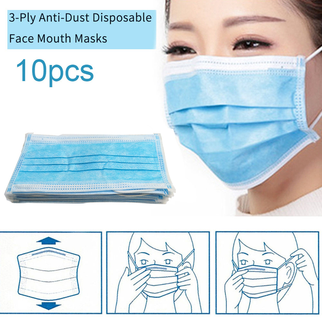 100pcs Disposable Face Mouth Masks 3-Ply Nonwoven Dustproof Hygiene Face Mask Flu Breathable PM2.5 Filter Masque Anti Pollution