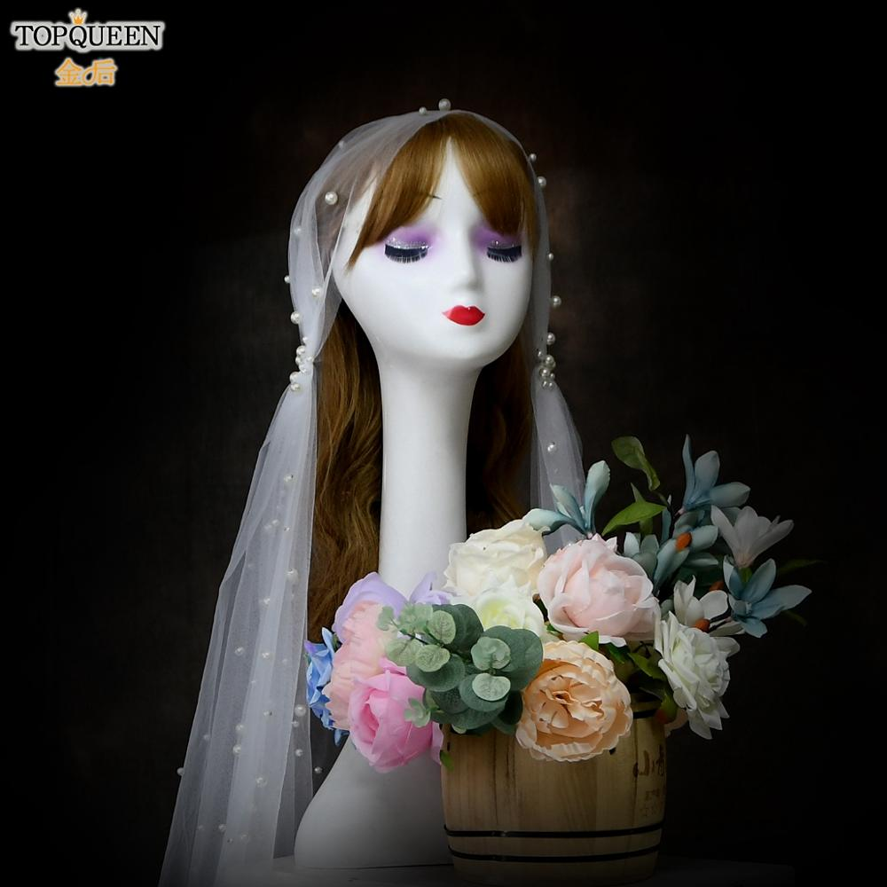 TOPQUEEN V12 Ivory Veil with Pearls Wedding Veils for Brides Shoulder Length Veil Bridal Veil without Comb Veil with Blusher