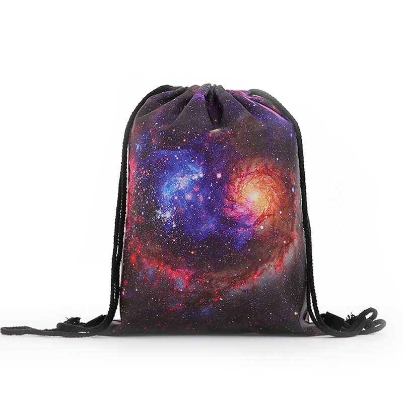 Backpack  New Fashion Women Mini Drawstring Starry Sky Backpack 3D Printing Travel Softback Bags Men Mochila Drawstring Bag Girs
