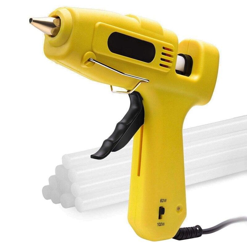 Hot Melt Adhesive Tool 60 / 100W Dual Power High Temperature Heavy Duty Glue Kit with 10 Glue Sticks (0.43 inch X 8 inch) for Ar|Glue Guns| |  -
