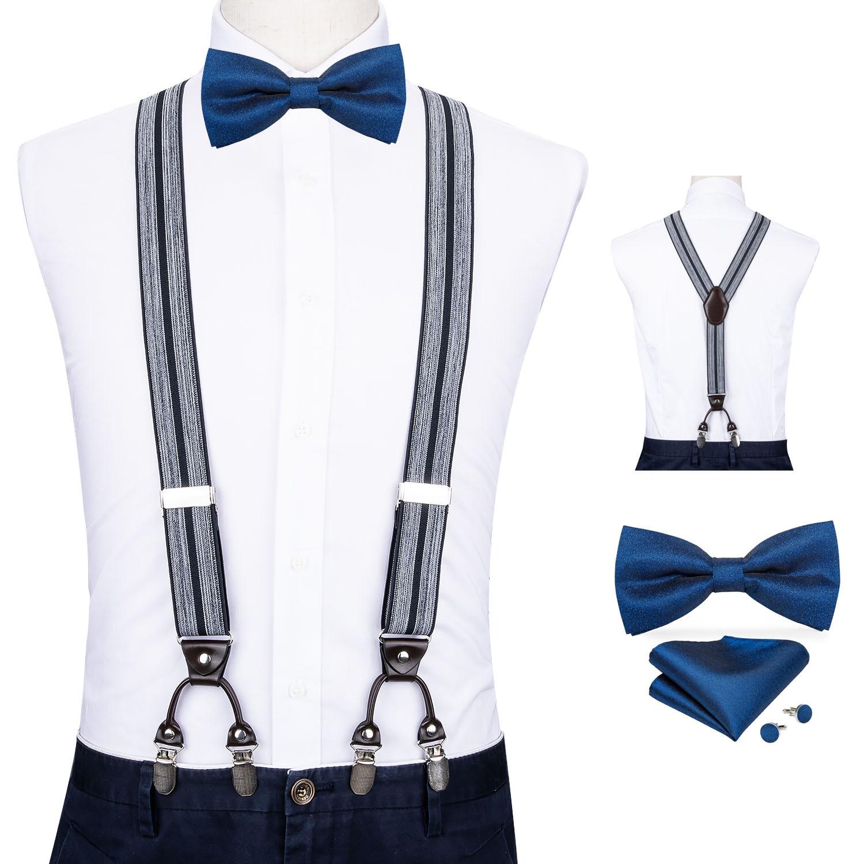 Mens Suspender Blue Bow Ties Set Business Wedding Y-back Adjustable Clip-on Elastic Suspender Vintage Mens Belts Straps DiBanGu