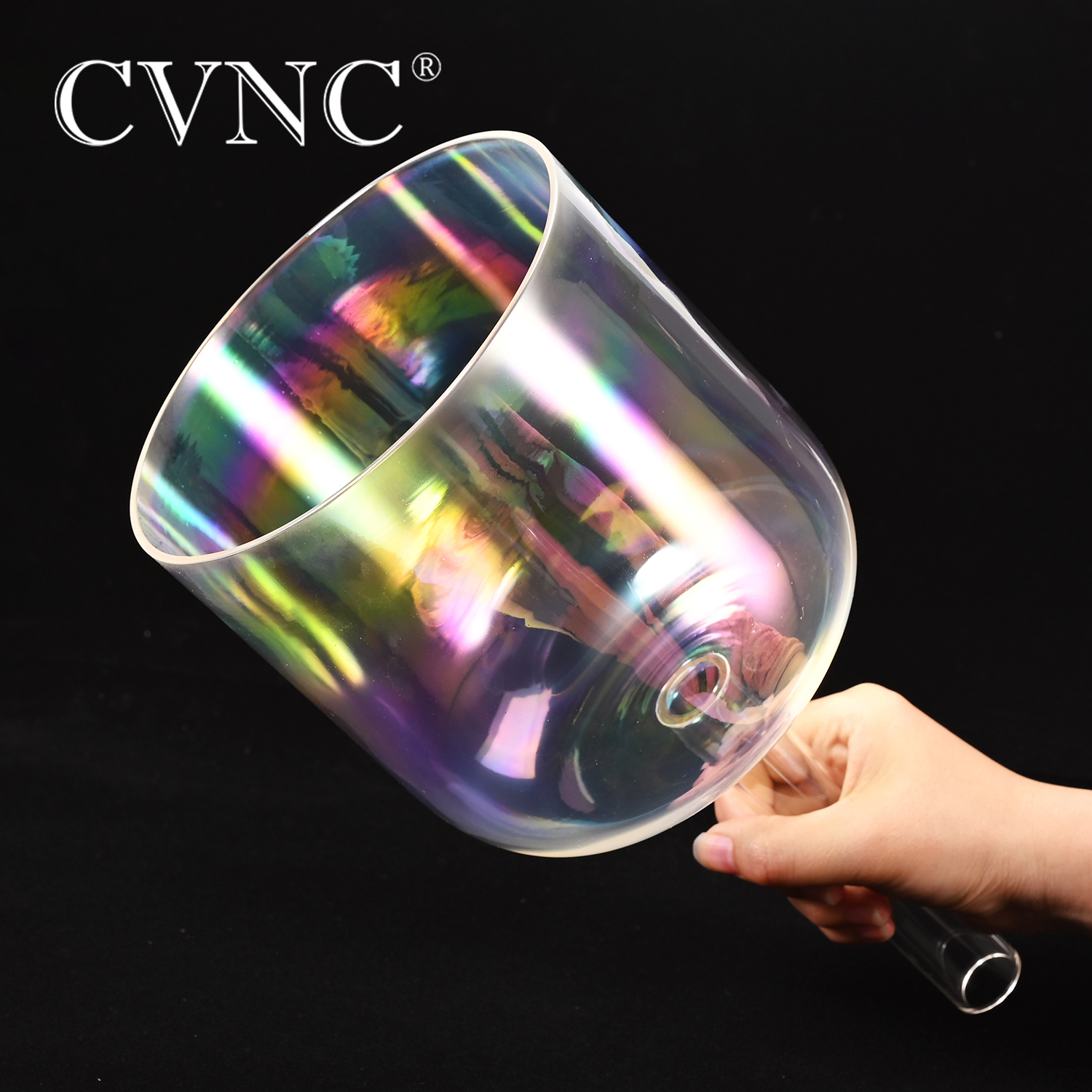 """Image 2 - CVNC  7""""Cosmic Light  Clear Crystal Singing Handle Bowl  any one Musical Note C  D E F G  A BBells & Chimes   -"""