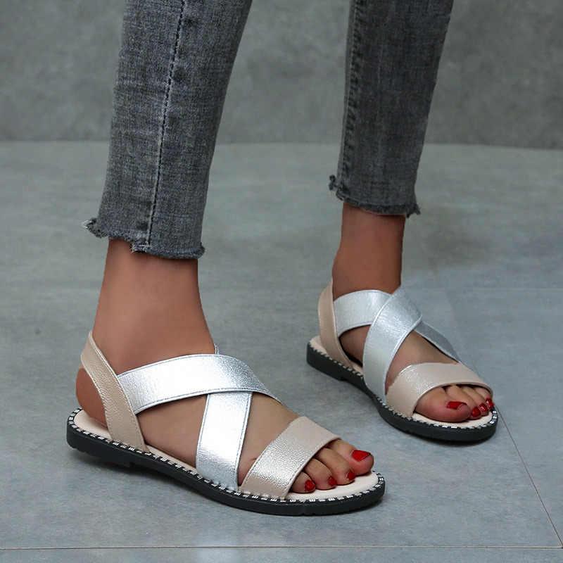 Kadın ayakkabı klasik elastik bant bayanlar düz sandalet kadın Glitter deri ayakkabı kadın yaz dikiş roma burnu açık kadın 2020