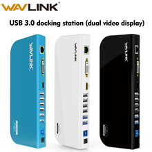 Wavlink אוניברסלי USB 3.0 תחנת עגינה כפולה וידאו תצוגת צג RJ45 Gigabit Ethernet תמיכת 1080P DVI/HDMI עבודה באינטרנט