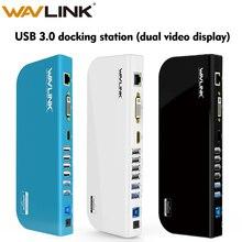 Wavlink Универсальный USB 3,0 док станция двойной видео дисплей монитор RJ45 гигабит Ethernet Поддержка 1080P DVI/HDMI работает онлайн