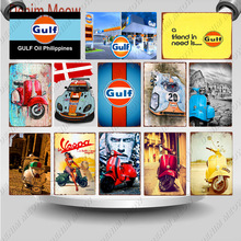 Vespa motos Vintage italiano Electrocar Metal Poster Gulf Racing pintura pared arte placas coche Garage Club decoración del hogar WY120