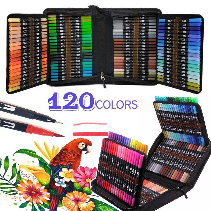 Манга 12-120 Цвет s воды Цвет ручки, кисть, файнлайнер, фломастер для рисования, окраска пера для каллиграфии для рисования набросков Цвет