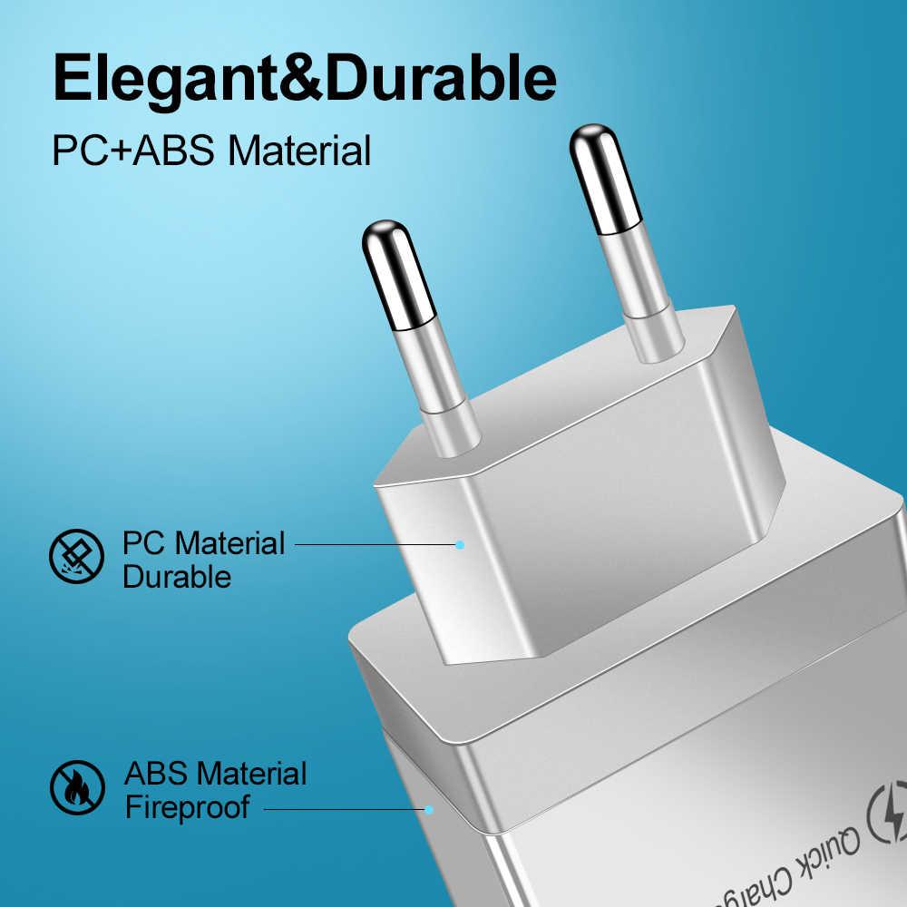 טעינה מהירה 3.0 USB מטען עבור iPhone XR X 7 8 Huawei P20 Tablet QC 3.0 מהיר קיר מטען האיחוד האירופי adapte עבור Samsung A50 A30