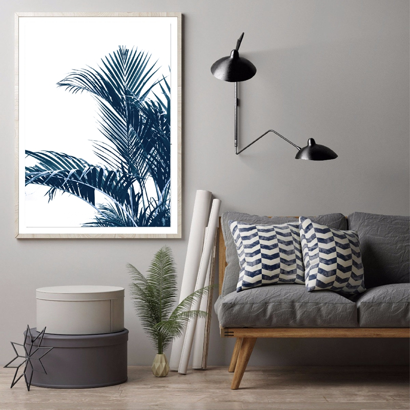 Navy Blue Wall Art Palm Leaves Poster Home Decor