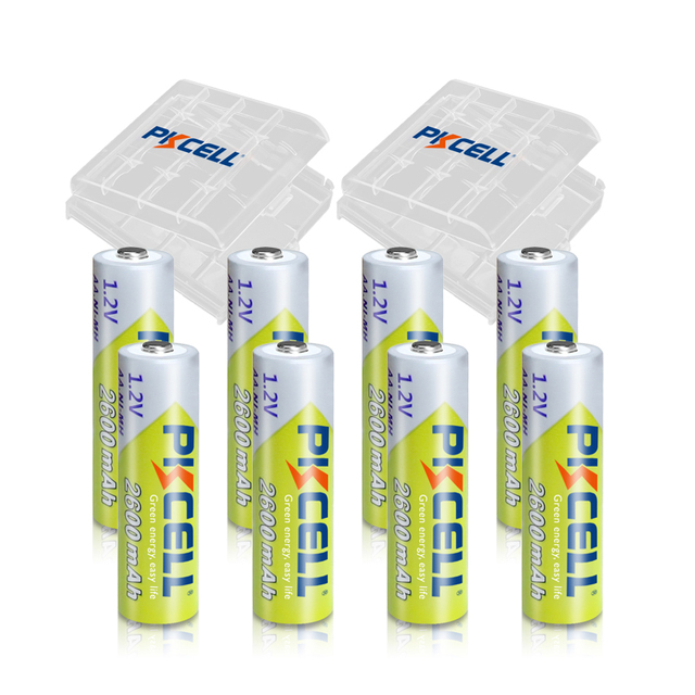 8Pcs PKCELL  2300 to 2600mah Battery NIMH AA Rechargeable Batterys aa 1.2v and 2pcs Boxes Case