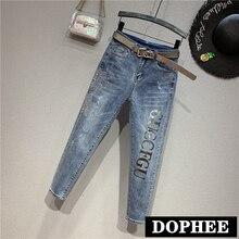 Европейская мода, женские джинсы, новинка, весна осень, тонкие, стразы, буквы, высокая талия, обтягивающие, приталенные Стрейчевые штаны, джинсовые брюки