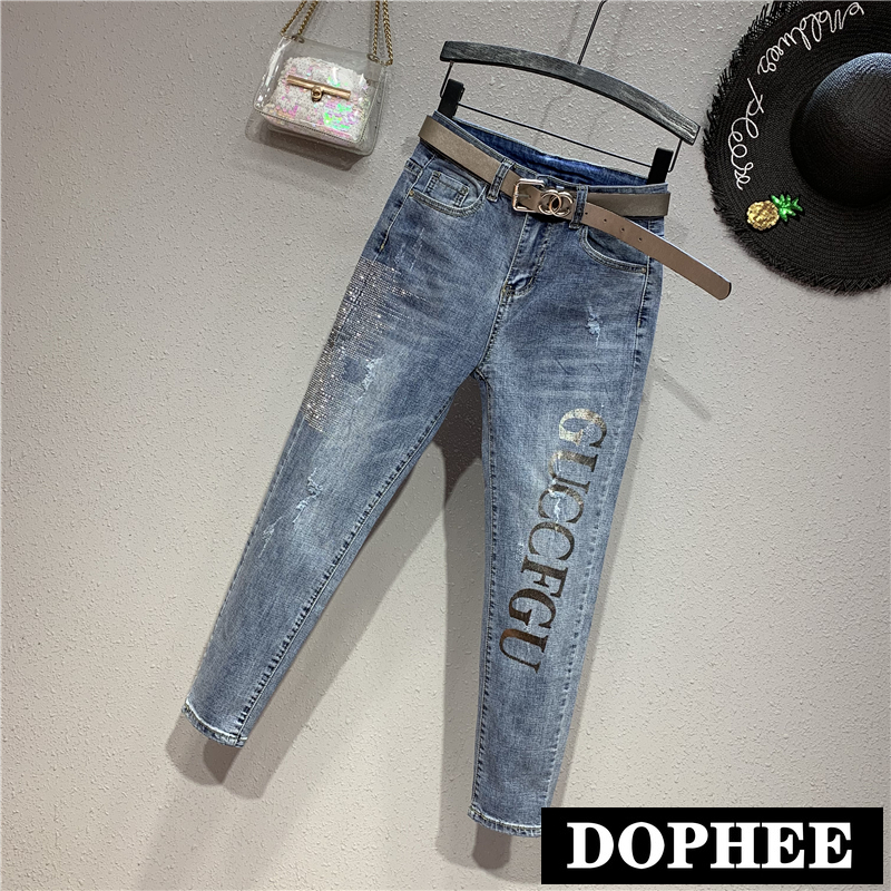 European Fashion Jeans Women 2019 New Spring Fall Slim Rhinestones Letters High Waist Skinny Pencil Pants Stretch Denim Trousers