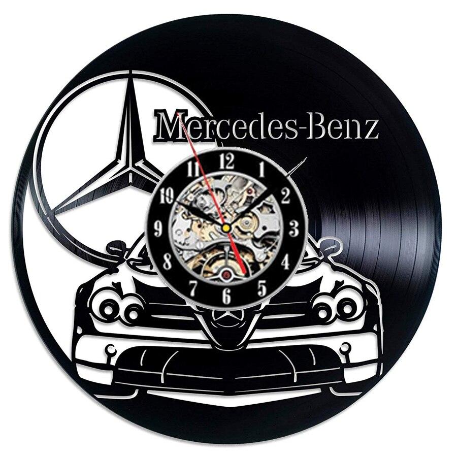 Mercedes Benz Vinyl Record Wall Clock Modern Design Car Logo 3D Decoration Benz Wall Sign Vinyl Clock Wall Watch Home Decor