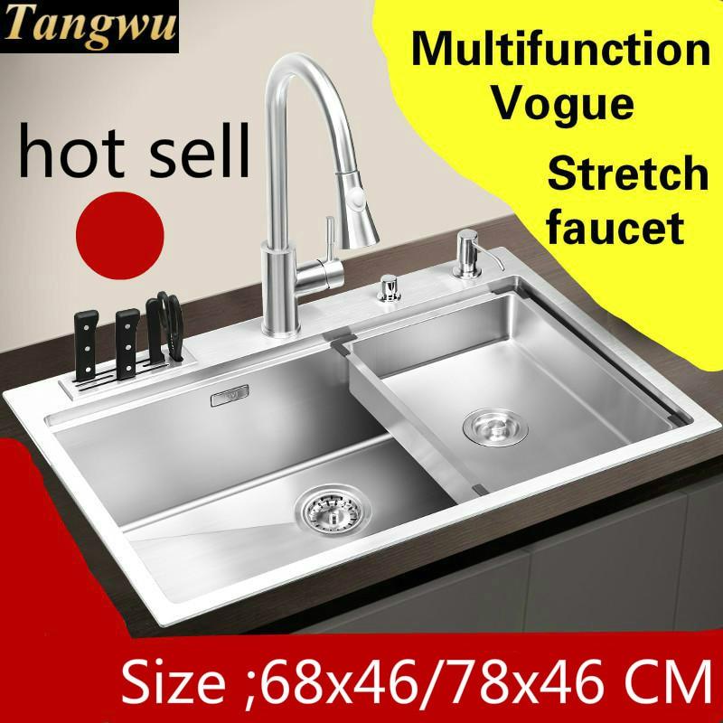 Livraison gratuite Apartme cuisine multifonction manuel évier simple auge robinet extensible 304 acier inoxydable vente chaude 68x46/78x46 CM