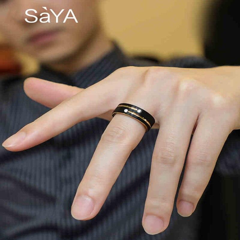 Bague pour hommes, 6/8mm bandes tons noirs tungstène Couple anneaux pour mariage, avec rainure or pierre CZ, livraison gratuite - 3