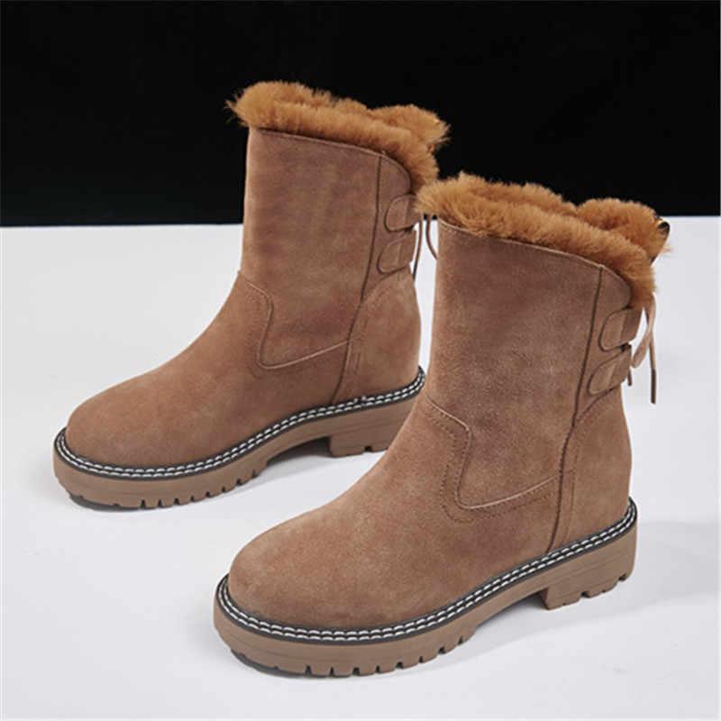 MORAZORA 2020 moda zimowa kobiety buty marki na niskim obcasie okrągłe toe buty śniegowe wysokiej jakości solidne kolorowe botki czarne