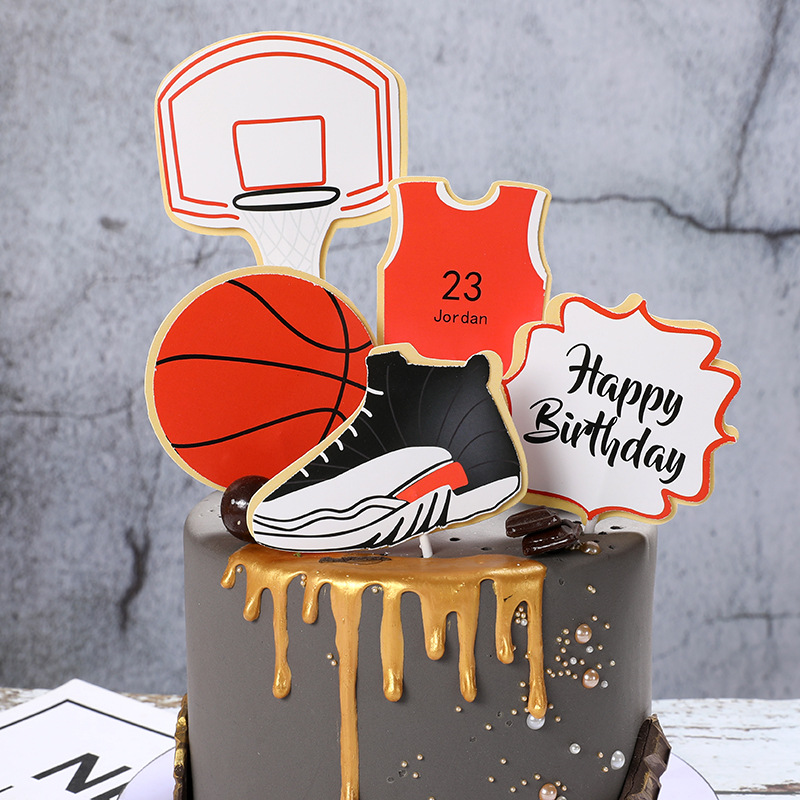 Cake Toppers Glitter DIY Basketball Football Set Cupcake Topper Cake Flags Kids Boys Birthday Wedding Bride Party Baking Decor-1