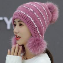 купить HT2689 Rabbit Fur Hat Beanies Three Pompoms Knit Hat Women Thick Warm Windproof Earflap Cap Lady Winter Hat for Women Beanie Hat по цене 823.91 рублей