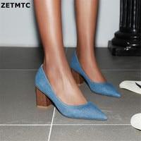 Blue Denim Block Heel Pointed Toe Pumps Chunky Square Heel Customization Large Size 42 Leisure Summer Autumn Women Shoes
