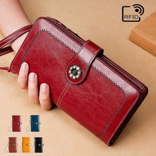 Cc Rfid Women's Wallet Genuine Leather Female Clutch Long Wallet  Money Bag Coin Purse Oil Wax Leather Multifunctional Clutch